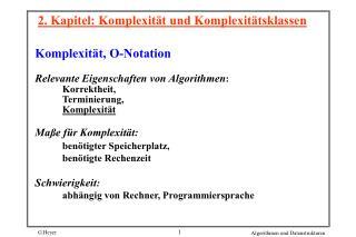 2. Kapitel: Komplexität und Komplexitätsklassen