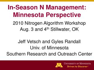 In-Season N Management: Minnesota Perspective