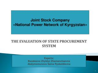 THE EVALUATION OF STATE PROCUREMENT SYSTEM