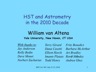 HST and Astrometry  in the 2010 Decade