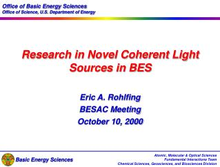 Research in Novel Coherent Light Sources in BES