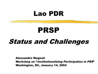 Lao PDR PRSP Status and Challenges