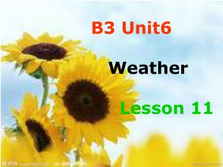 B3 Unit6    Weather Lesson 11
