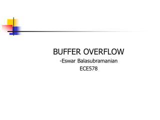 BUFFER OVERFLOW -Eswar Balasubramanian ECE578