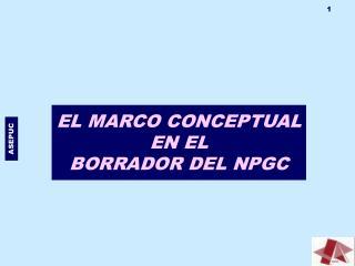 EL MARCO CONCEPTUAL  EN EL BORRADOR DEL NPGC