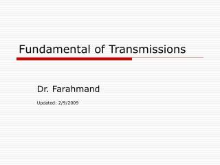 Fundamental of Transmissions