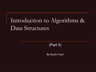 Introduction to Algorithms & Data Structures
