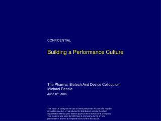 Building a Performance Culture