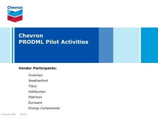 Chevron  PRODML Pilot Activities