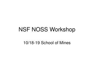 NSF NOSS Workshop