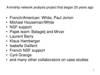 A kinship network analysis project that began 20 years ago