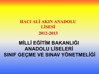 HACI ALİ AKIN ANADOLU LİSESİ 2012-2013
