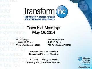 Town Hall Meetings May 29, 2014           NOTL Campus		Welland Campus