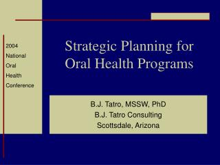 Strategic Planning for Oral Health Programs