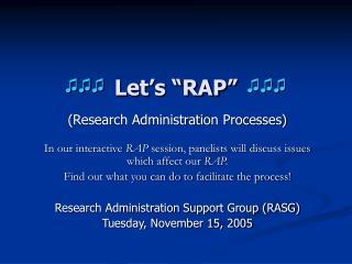 """Let's """"RAP"""""""