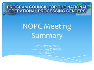 NOPC Meeting Summary