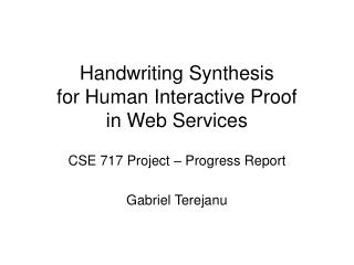 Handwriting Synthesis for Human Interactive Proof  in Web Services