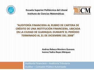 Auditoría Financiera – Auditoría Tributaria Auditor – Contador Público Autorizado