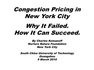 Congestion Pricing in New York City