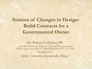 Sources of Changes in Design-Build Contracts for a Governmental Owner