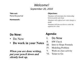 Welcome! September  20 ,  2010