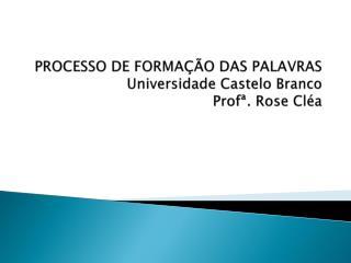 PROCESSO DE FORMAÇÃO DAS PALAVRAS Universidade Castelo Branco Profª . Rose Cléa