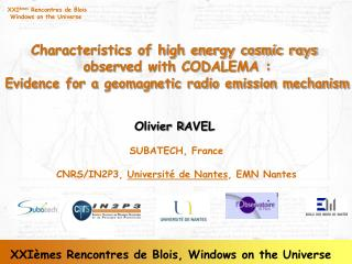 Characteristics of high energy cosmic rays  observed with CODALEMA :