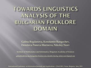 towards linguistics analysis of the  bulgarian  folklore Domain
