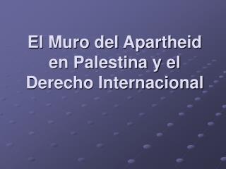 El Muro del Apartheid en Palestina y el Derecho Internacional