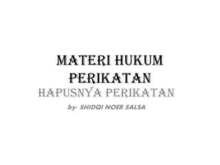 MATERI  HUKUM PERIKATAN