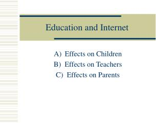 Education and Internet