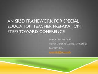 An SRSD framework for special education teacher preparation: Steps toward  coherence