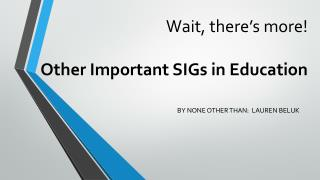 Wait, there's more! Other Important SIGs in Education