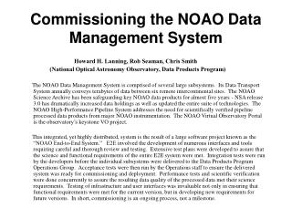 Commissioning the NOAO Data Management System