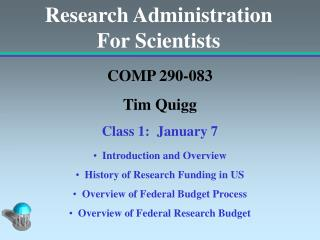 Research Administration For Scientists