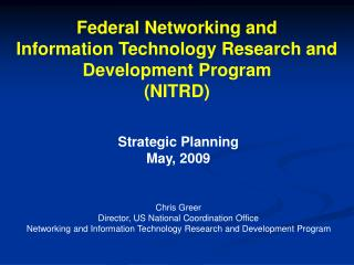 Federal Networking and Information Technology Research and Development Program (NITRD)