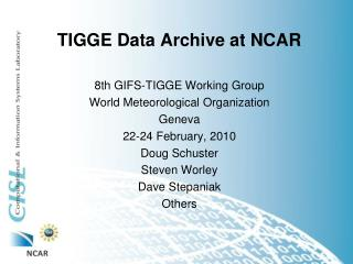 TIGGE Data Archive at NCAR