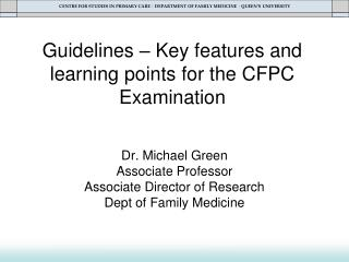 Guidelines – Key features and learning points for the CFPC Examination