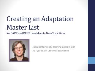 Creating an Adaptation Master List for CAPP and PREP providers in New York State