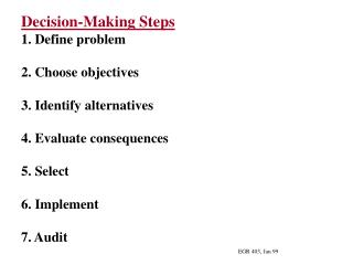 Decision-Making Steps 1. Define problem 2. Choose objectives 3. Identify alternatives