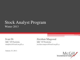 Stock Analyst Program Winter 2013