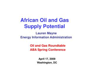 African Oil and Gas Supply Potential