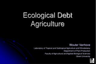 Ecological Debt  Agriculture