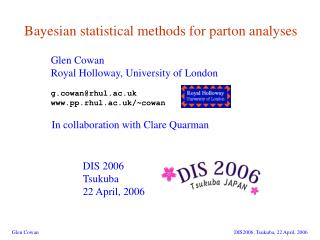 Bayesian statistical methods for parton analyses