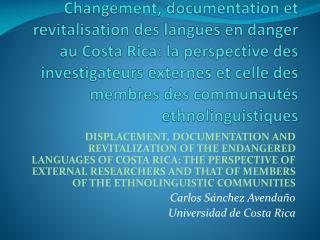Les  langues minoritaires communitaires  de Costa Rica