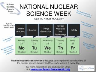 NATIONAL NUCLEAR SCIENCE WEEK