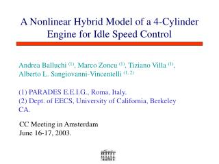 A Nonlinear Hybrid Model of a 4-Cylinder Engine for Idle Speed Control