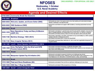 NFOSES Wednesday, 1 October U.S. Naval Academy