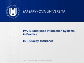 PV213 Enterprise Information Systems in Practice 0 9  –  Quality assurance