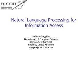 Natural Language Processing for Information Access